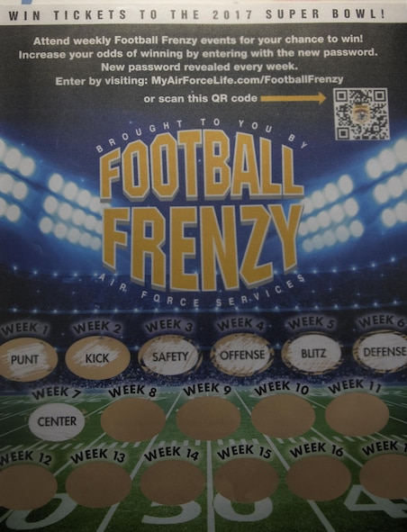 A Football Frenzy banner hangs inside the F.E. Warren Air Force Base, Wyo., bowling alley Oct. 26, 2016. The Warren Lanes bowling center hosts a Football Frenzy event every Sunday, where club members can get an exclusive code to enter for a chance to win prizes. (U.S. Air Force photo by Senior Airman Brandon Valle)