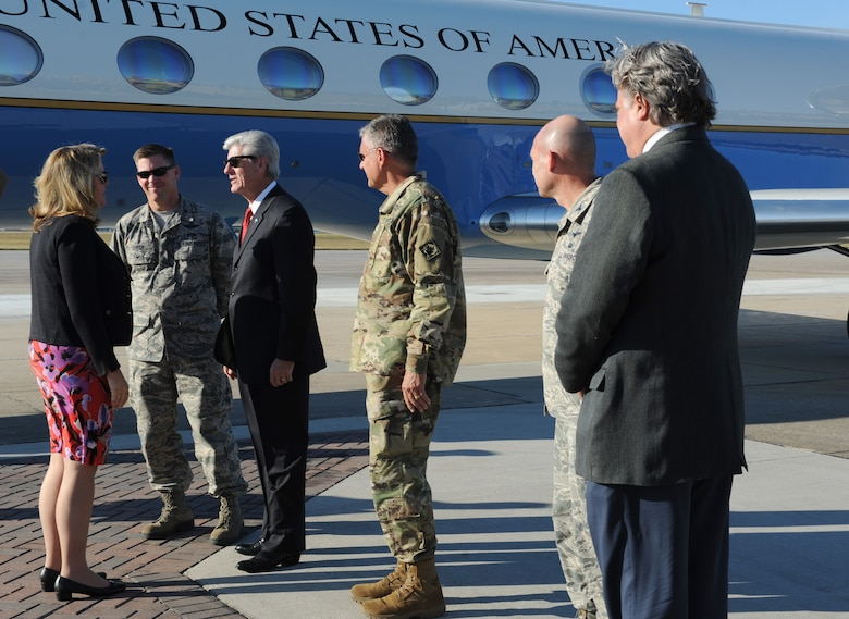 Air Force Secretary Deborah Lee James is greeted by Phil Bryant, Mississippi Governor, and 81st Training Wing leadership at base operations Oct. 25, 2016, on Keesler Air Force Base, Miss. James was the guest speaker at the 38th Annual Salute to the Military at the Mississippi Coast Convention Center. The event recognized the men and women who serve in the military along the Gulf Coast. (U.S. Air Force photo by Kemberly Groue/Released)