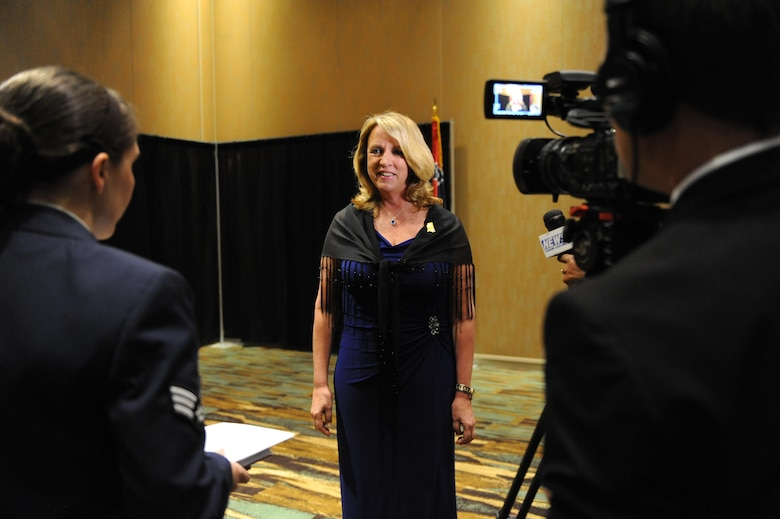 Air Force Secretary Deborah Lee James is interviewed by 81st Training Wing Public Affairs members and local media during the 38th Annual Salute to the Military at the Mississippi Coast Convention Center, Oct. 25, 2016, Biloxi, Miss. James was the guest speaker at the event, which recognized the men and women who serve in the military along the Gulf Coast. (U.S. Air Force photo by Kemberly Groue/Released)