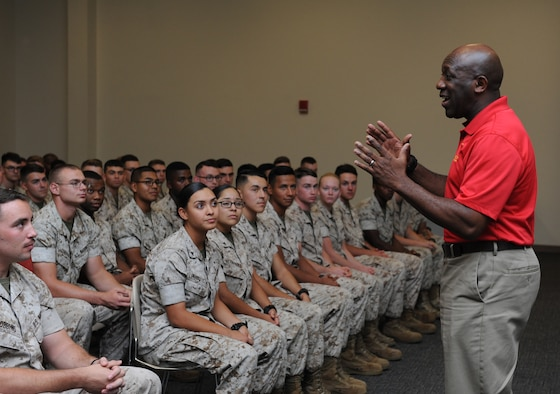 Sergeant Major of the Marine Corps Ronald Green speaks to members of the Keesler Marine Detachment at the Roberts Consolidated Aircraft Maintenance Facility Oct. 26, 2016, on Keesler Air Force Base, Miss. Green spoke on the current and future stance of the Marine Corps and the impact the young Marines have on its future. (U.S. Air Force photo by Kemberly Groue/Released)