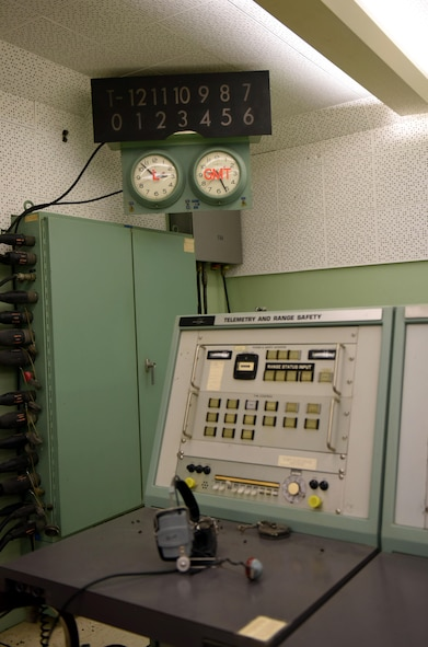 An actual console that was used while Space Launch Complex 10 was active, is displayed as part of the renovations to the blockhouse, Oct. 25, 2016, Vandenberg Air Force Base, Calif. During the past year Vandenberg's Space and Technology Center, sometimes referred to as the base museum, has received various upgrades that are expected to continue into 2017. (U.S. Air Force photo by Senior Airman Kyla Gifford/Released)