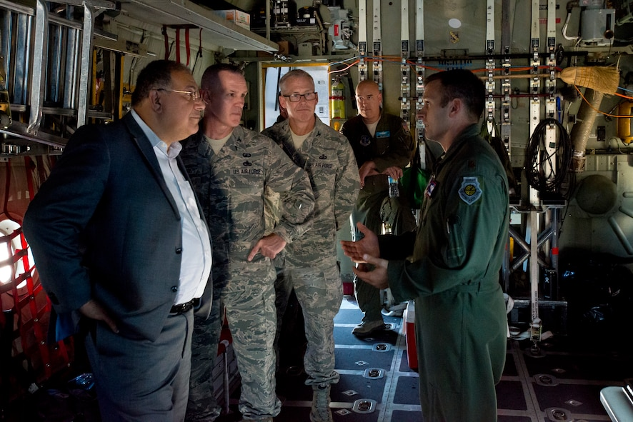 Maj. Justin Brumley, with the Air National Guard Air Force Reserve Command Test Center, informs ANG and AFRC leaders about the progress of various programs in testing for C-130H Hercules aircraft at the ANG AFRC Test Center at Tucson, Arizona, October 20, 2016. The test center is evaluating using the Rolls-Royce T56 Series 3.5 engine across the Guard's legacy C-130H fleet. (U.S. Air National Guard photo by Staff Sgt. John E. Hillier)