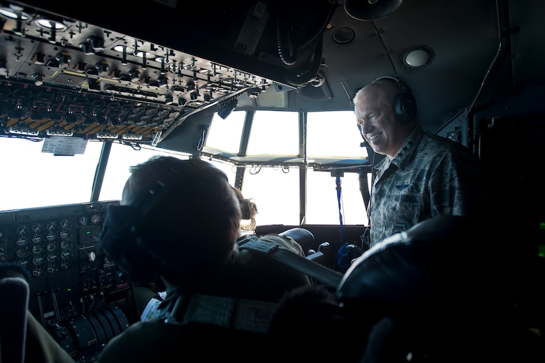 Director, Air National Guard, Lt. Gen. L. Scott Rice, observes a C-130H Hercules test flight above the Air National Guard Air Force Reserve Command Test Center at Tucson, Arizona, October 20, 2016. The test center is evaluating using the Rolls-Royce T56 Series 3.5 engines across the Guard's legacy C-130H fleet. (U.S. Air National Guard photo by Staff Sgt. John E. Hillier)