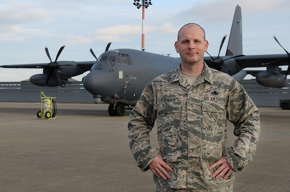 U.S. Air Force Senior Master Sgt. Randolph Crosslin, 352d Special Operations Aircraft Maintenance Squadron aircraft maintenance unit superintendent, poses for a photo Oct. 26, 2016, on RAF Mildenhall, England. Crosslin is the Air Force Materiel Command's 2016 Gen. Lew Allen Jr. Trophy, SNCO Category winner. (U.S. Air Force photo by Airman 1st Class Tenley Long)