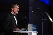 Defense Secretary Ash Carter accepts the American Patriot Award on behalf of the men and women of the Department of Defense at a gala in Washington, D.C., Oct. 27, 2016. DoD photo by Army Sgt. Amber I. Smith