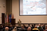 DLA Distribution commanding general Army Brig. Gen. John Laskodi discusses the future of logistics with students from the Dwight D. Eisenhower School for National Security and Resource Strategy.  (Photo by Emily Tsambiras, DLA Distribution Public Affairs)