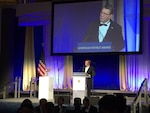 Defense Secretary Ash Carter thanks the National Defense University Foundation for recognizing the men and women of the Defense Department with the Patriot Award during a ceremony at the Reagan Building in Washington Oct. 27, 2016. DoD photo by Jim Garamone