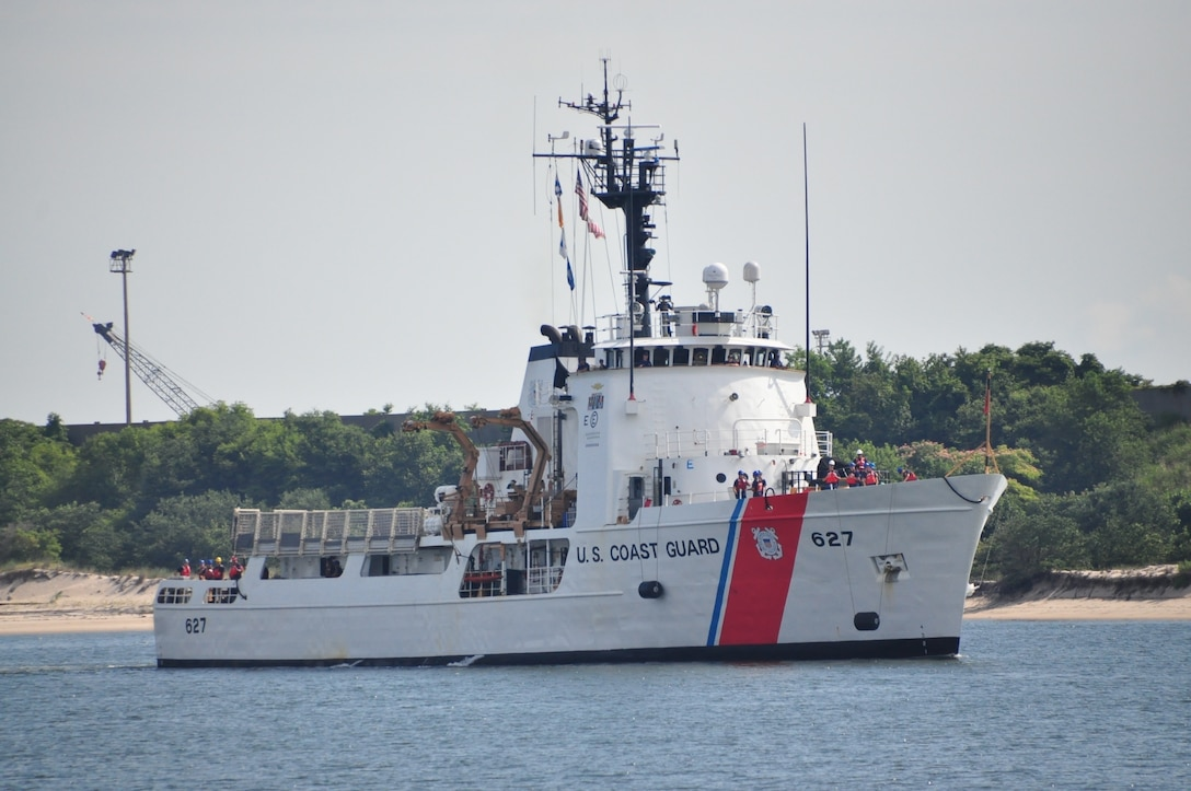 The Coast Guard Cutter Vigorous transits the water near Virginia Beach, Virginia. Vigorous returned home following a 55-day deployment in the Eastern Pacific Ocean in support of the Coast Guard's Western Hemisphere Strategy. (U.S. Coast Guard photo by Petty Officer 1st Class Melissa Leake)