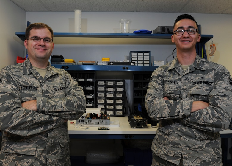 U.S. Air Force Senior Airman Lance Voegtline, left, and Staff Sgt. Pablo Novel-Valdez are 509th Medical Support Squadron biomedical equipment technicians at Whiteman Air Force Base, Mo. Together they are responsible for 1,043 medical and dental equipment at the 509th Medical Group that has approximately 57,000 appointments scheduled a year. (U.S. Air Force photo by Senior Airman Danielle Quilla)