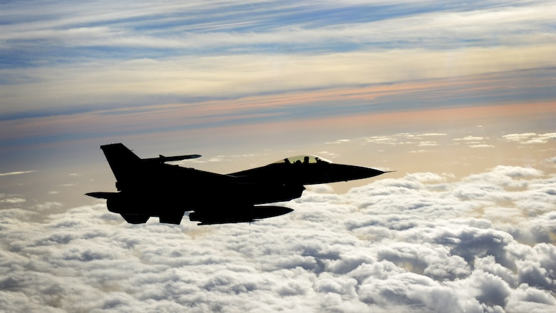 An F-16 Fighting Falcon flies over the Adriatic Sea on Oct. 26, 2016. Aviano's 555th and 510th Fighter Squadron's fighter pilots trained with the Utah Air National Guard's 191st Air Refueling Squadron during a two week training to stay proficient on refueling procedures. (U.S. Air Force photo by Senior Airman Areca T. Bell/Released)