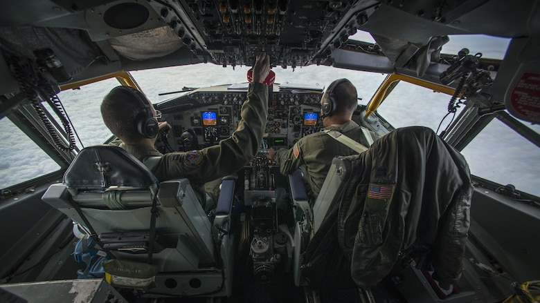 Capts. David Palmer and Nicholas Thompson, Utah Air National Guard's 191st Air Refueling Squadron's KC-135 Stratotanker pilots, participate in a mid-air refueling training exercise over the Adriatic Sea on Oct. 26, 2016. The Utah ANG provided two refueling crews to train for two weeks with Aviano pilots. (U.S. Air Force photo by Airman 1st Class Cory W. Bush/Released)