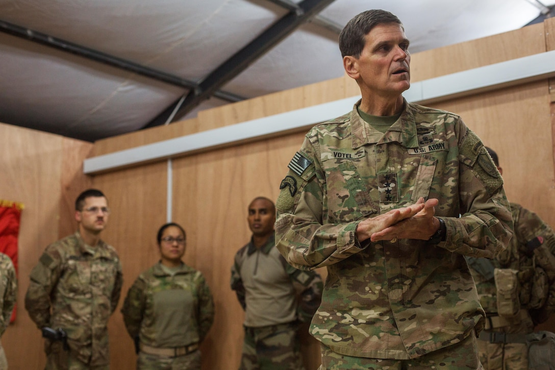 U.S. Army Gen. Joseph Votel, Commander of the United States Central Command, thanks U.S. and coalition forces at Qayyarah West Airfield, Iraq, Oct. 25, 2016. The United States stands with a coalition of more than 60 international partners to assist and support the Iraqi security forces to degrade and defeat the Islamic State of Iraq and the Levant.  (U.S. Army photo by Spc. Christopher Brecht)