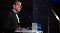 Defense Secretary Ash Carter thanks the National Defense University Foundation for recognizing the men and women of the Defense Department with the American Patriot Award during a ceremony at the Reagan Building in Washington, D.C., Oct. 27, 2016. DoD photo by Army Sgt. Amber I. Smith