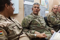 U.S. Army Lt. Gen. Steven Townsend, Commander of Combined Joint Task Force – Operation Inherent Resolve, discusses battle plans with Iraqi security forces at Qayyarah West, Iraq, Oct. 25, 2016. More than 60 coalition partners have committed themselves to the goals of eliminating the threat posed by the Islamic State of Iraq and the Levant and have contributed in various capacities to the effort to combat ISIL in Iraq, the region and beyond.  (U.S. Army photo by Spc. Christopher Brecht)