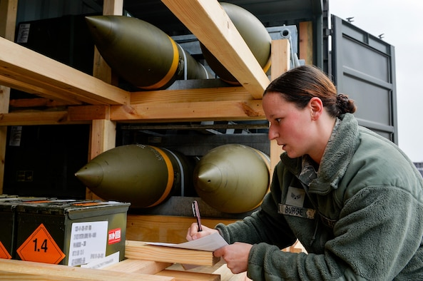 Senior Airman Jordan Burge, 86th Munitions Squadron munitions operations technician, takes accountability of ammunition at Ramstein Air Base, Germany, Oct. 26, 2016. Airmen of the 86th MUNS inspect, sort and ship munitions according to the intended destinations. (U.S. Air Force photo by Airman 1st Class Joshua Magbanua)