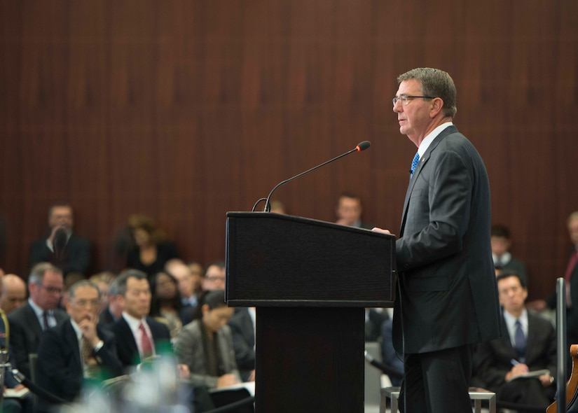 Defense Secretary of Ash Carter speaks to the Center for Strategic and International Studies about the force of the future in Washington, Oct. 28, 2016. DoD photo by Navy Petty Officer 1st Class Tim D. Godbee