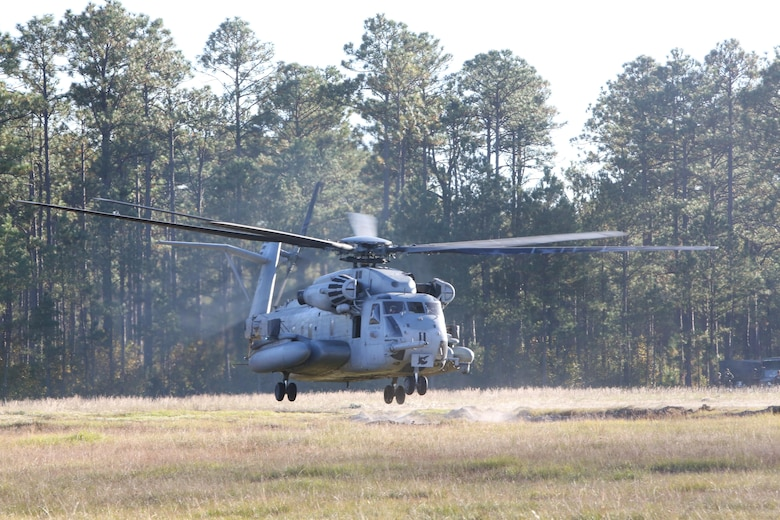 A CH-53E Super Stallion takes off after boarding Marines from 3d Battalion, 8th Marine Regiment at Camp Lejeune, N.C., Oct. 25, 2016. The CH-53E Super Stallion transported the Marines as part of a helicopter operation for the Marine Corps Combat Readiness Evaluation (MCCRE).  The MCCRE allows a regiment level command to evaluate a battalion's readiness for combat prior to going on deployment. (U.S. Marine Corps photo by Sgt. Clemente C. Garcia)