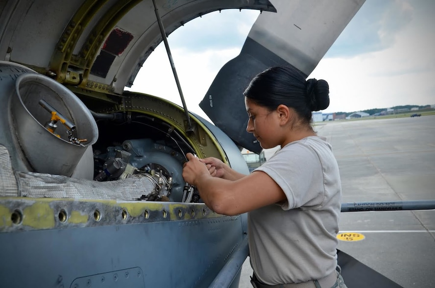Airman 1st Class Cindy Esquero, 94th Maintenance Squadron avionics guidance and controls, replaces a tachometer generator in an engine at Dobbins Air Reserve Base on September 27, 2016. Esquero is on seasonal orders to learn to maintain the various parts of the C-130. (U.S. Air Force photo by Senior Airman Lauren Douglas)