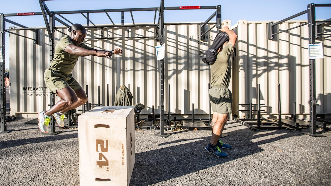A Force Fitness Instructor (FFI) student executes box jumps as part of the physical training portion of the course at Marine Corps Base Quantico, Virginia, October 24, 2016. The FFI course is made up of physical training, classroom instruction and practical application to provide the students with a holistic approach to fitness. Upon completion, the Marines will  serve as unit FFIs, capable of designing individual and unit-level holistic fitness programs.