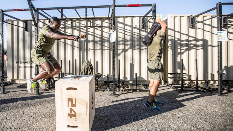 A Force Fitness Instructor (FFI) student executes box jumps as part of the physical training portion of the course at Marine Corps Base Quantico, Virginia, October 24, 2016. The FFI course is made up of physical training, classroom instruction and practical application to provide the students with a holistic approach to fitness. Upon completion, the Marines will 