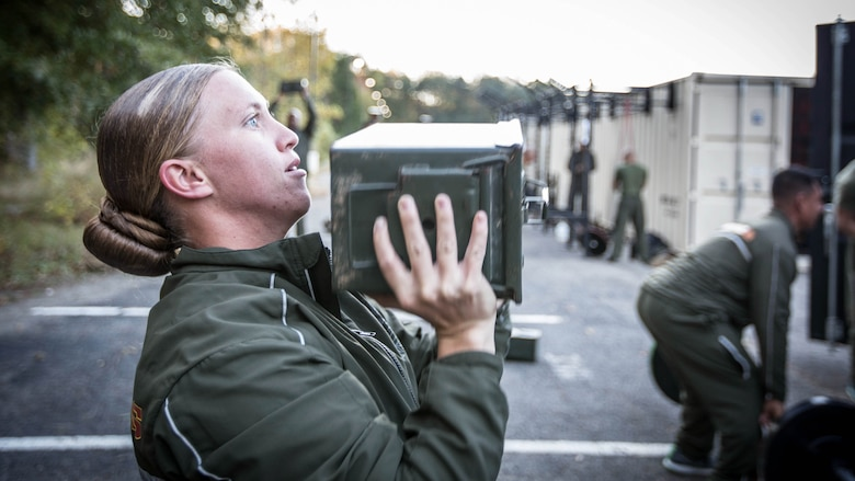 A Force Fitness Instructor (FFI) student executes proper ammo can lift technique as part of the practical application portion of the course at Marine Corps Base Quantico, Virginia, October 25, 2016. The FFI course is made up of physical training, classroom instruction and practical application to provide the students with a holistic approach to fitness. Upon completion, the Marines will serve as unit FFIs, capable of designing individual and unit-level holistic fitness programs.