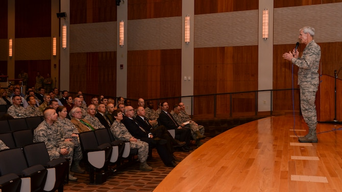 Lt. Gen. Robert Otto, Deputy Chief of Staff for Intelligence, Surveillance and Reconnaissance, Headquarters U.S. Air Force, Washington, D.C., talks with members of the National Air and Space Intelligence Center Oct. 12, at Wright-Patterson Air Force Base, Ohio. Otto is responsible to the Secretary and Chief of Staff of the Air Force for policy formulation, planning, evaluation, oversight, and leadership of Air Force intelligence, surveillance and reconnaissance capabilities. He will retire from the Air Force this November after 34 years of dedicated service. NASIC is a Field Operating Agency that reports to HAF/A2.  (Air Force photo by: Senior Airmen Samuel Earick)