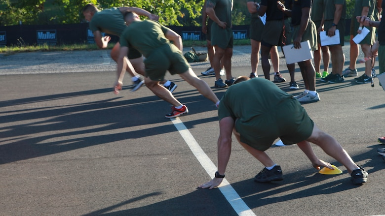 Students at the Force Fitness Instructor Course run gassers as part of a diagnostic test at Marine Corps Base Quantico, Virginia, October 6, 2016. The test evaluates the physical abilities of the students and determines their level of fitness of the Marines during the course. The FFI Course is designed to train and certify Marines to serve as unit FFIs, capable of designing individual and unit-level holistic fitness programs.