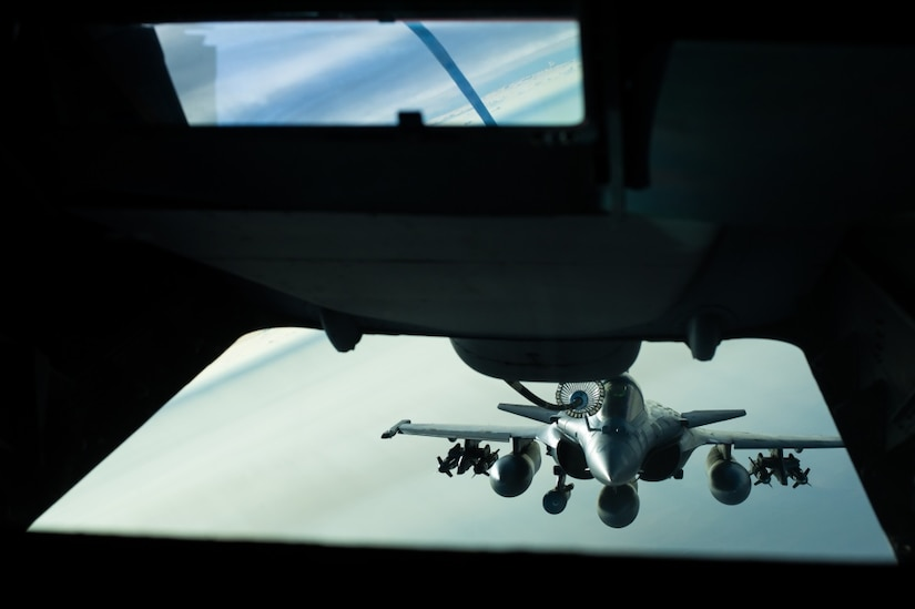 A French air force Assault Rafael receives fuel from a KC-10 near Iraq, Oct. 26, 2016. The Assault Rafael is a twin-engine, multi-role fighter equipped with diverse weapons to ensure its success as an Omni role aircraft. The Rafael has flown in combat missions in several countries, including Afghanistan, Libya and Syria, and is now supporting the liberation of Mosul in Iraq. Air Force photo by Senior Airman Tyler Woodward.