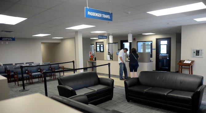 The 6th Logistics Readiness Squadron passenger travel, personal property and commercial travel offices are now centrally located in the building 49, Oct. 28, 2016, at MacDill Air Force Base, Fla. Combining customer waiting areas, in addition to the dual use of the LRS auditorium and training rooms resulted in eliminating over 20,000 square feet of offices from two other facilities. (U.S. Air Force photo by Senior Airman Jenay Randolph)