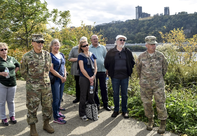 During an Oct. 17-19 visit to the U.S. Army Corps of Engineers Pittsburgh District, members of the Environmental Advisory Boards along with Lt. Gen. Todd Semonite, U.S. Army Corps of Engineers commanding general and chief of engineers, and Brig. Gen. Mark Toy, Great Lakes and Ohio River Division commander, tour a future district project on the north shore of Pittsburgh.