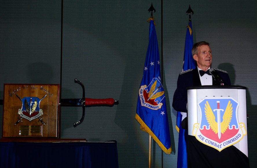 Gen. Hawk Carlisle, commander of Air Combat Command, gives an acceptance speech during his Order of the Sword presentation ceremony at the Hampton Roads Convention Center in Hampton, Va., Oct. 27, 2016. Carlisle, who has commanded ACC since October 2014, is the eighth ACC leader to be inducted into the command's Order of the Sword. (U.S. Air Force photo by Airman 1st Class Kaylee Dubois)