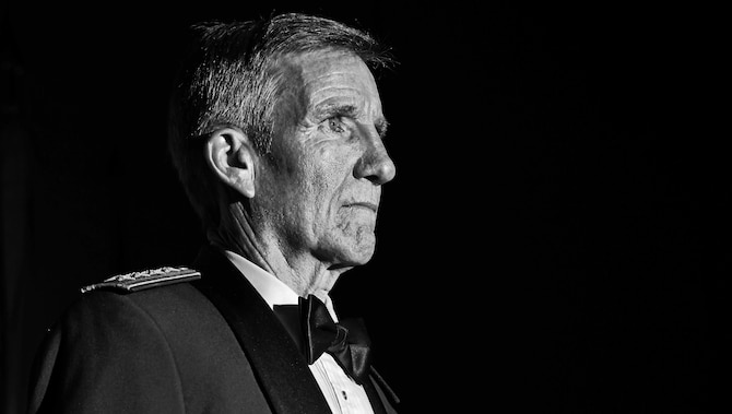 Gen. Hawk Carlisle, commander of Air Combat Command, stands at attention during the opening of his Order of the Sword presentation ceremony at the Hampton Roads Convention Center in Hampton, Va., Oct. 27, 2016. Military branches around the world present prestigious swords of honor to recognize the accomplishments and service to their country and fellow man. In the Air Force, the Order of the Sword remains the highest and only honor presented by the noncommissioned officer corps to a senior ranking officer and is maintained by the command chief master sergeant of the designated command. (U.S. Air Force photo by Staff Sgt. Nick Wilson)