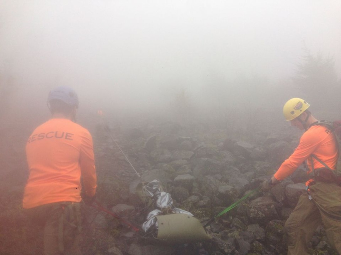 Air Force Reserve Pararescuemen or PJs from Portland's 304th Rescue Squadron assisted in recovering a hiker who was declared missing October 25, 2016. Early October 26, 2016, a team of four PJs scoured steep rocky terrain near the Oregon-Washington border until nightfall with the assistance of volunteers, civil search and rescue teams, AT&T and Apple. Information was obtained to pinpoint the GPS coordinates for the victim, 31-year-old Melvin Burtch's, cell phone allowing searchers to navigate to the cell phone location. They found Burtch's body within 50 yards of the location of the phone. (U.S. Air Force photo/ Maj. Chris Bernard)