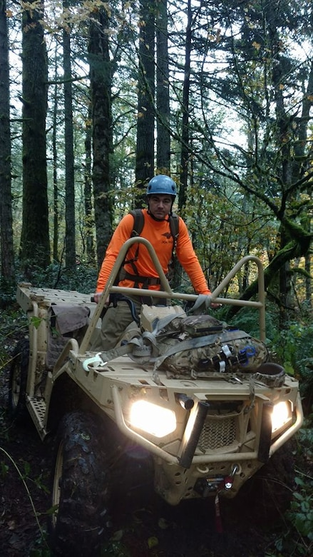 Air Force Reserve Pararescuemen or PJs from Portland's 304th Rescue Squadron assisted in recovering a hiker who was declared missing October 25, 2016 on Washington state's Table Mountain, a peak rising on the north side of the Columbia River. Early October 26, a team of four PJs scoured steep rocky terrain near the Oregon-Washington border until nightfall with the assistance of volunteers, civil search and rescue teams, AT&T and Apple. Information was obtained to pinpoint the GPS coordinates for the victim's phone allowing searchers to navigate to the cell phone location where they found 31-year-old Melvin Burtch's body within 50 yards. (U.S. Air Force photo/ Maj. Chris Bernard)