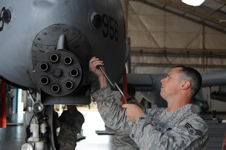 U.S. Air Force Senior Airman Clay Thomas, 355th Aircraft Maintenance Squadron load crew member, loosens paneling screws from an A-10C Thunderbolt II at Davis-Monthan Air Force Base, Ariz., Oct. 24, 2016. The panels were removed to perform maintenance on the A-10's GAU-8/A Gatling gun. (U.S. Air Force photo by Airman 1st Class Ashley N. Steffen)