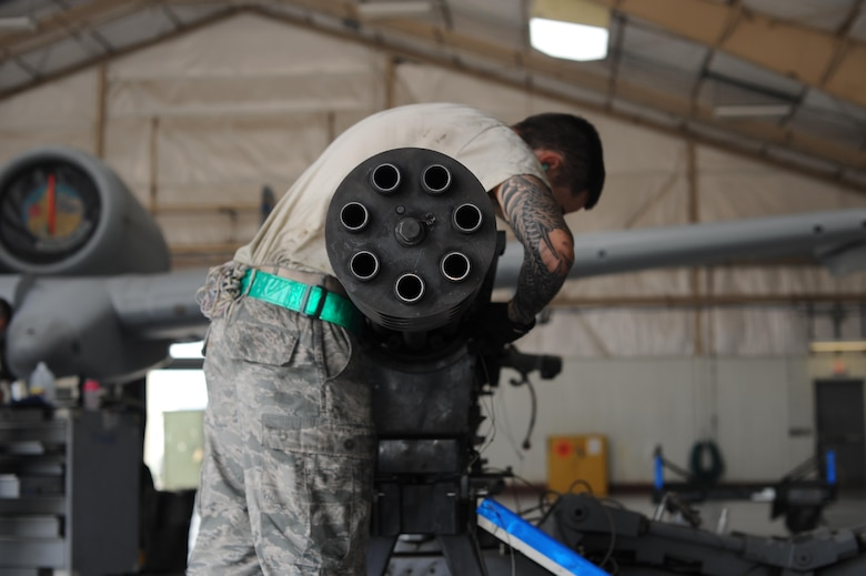 U.S. Air Force Airman 1st Class Michael Sherwood, 355th Aircraft Maintenance Squadron load crew member, ensures that a GAU-8/A Gatling gun is securely fastened before being transported to maintenance at Davis-Monthan Air Force Base, Ariz., Oct. 24, 2016. Once the Gatling gun is removed from the A-10C Thunderbolt II, it is transported to the armament shop to be disassembled, cleaned, inspected and reassembled. (U.S. Air Force photo by Airman 1st Class Ashley N. Steffen)