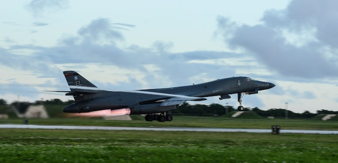 A U.S. Air Force B-1B Lancer assigned to the 34th Expeditionary Bomb Squadron, deployed from Ellsworth Air Force Base (AFB), S.D., takes off Oct. 25, 2016, at Andersen AFB, Guam. The aircraft is deployed in support of the U.S. Pacific Command's Continuous Bomber Presence operations. (U.S. Air Force photo by Senior Airman Arielle Vasquez/Released)