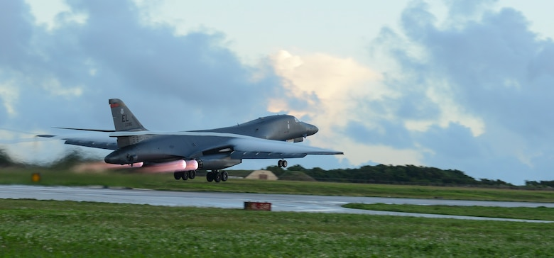 A U.S. Air Force B-1B Lancer assigned to the 34th Expeditionary Bomb Squadron, deployed from Ellsworth Air Force Base, S.D., takes off Oct. 25, 2016, at Andersen AFB, Guam. The aircraft is deployed in support of the U.S. Pacific Command's Continuous Bomber Presence operations. (U.S. Air Force photo by Senior Airman Arielle Vasquez/Released)