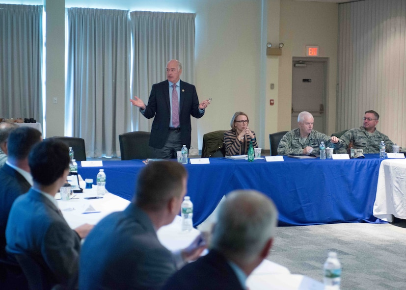 The 102nd Intelligence Wing hosts a number of high-ranking military and government officials as well as innovators from several high-tech energy companies during a leadership summit at Otis Air National Guard Base Oct. 25, 2016. The summit focused on the upcoming Otis Microgrid Project, an electrical network that ties into renewable energy sources, can operate if the commercial network fails, and allows the base to reduce its energy costs.(Air National Guard photo by Mr. Timothy Sandland/released)