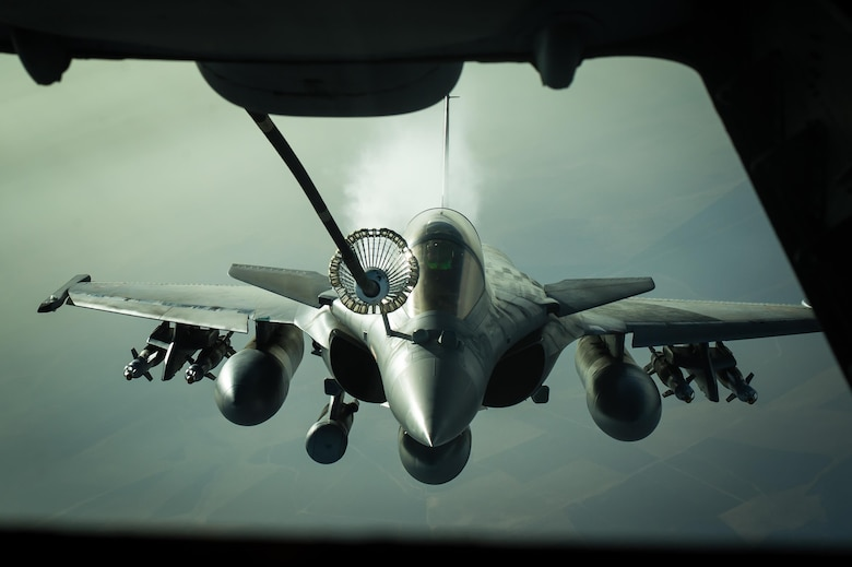 A French air force Dassault Rafale receives fuel from a KC-10 near Iraq, Oct. 26, 2016. The Dassault Rafale is a twin-engine, multi-role fighter equipped with diverse weapons to ensure its success as a omnirole aircraft. The Rafale has flown in combat missions in several countries including Afghanistan, Libya, Syria and now it's supporting the liberation of Mosul in Iraq.  (U.S. Air Force photo by Senior Airman Tyler Woodward)