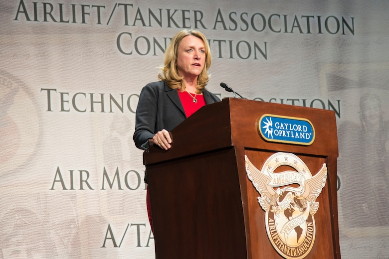 Air Force Secretary Deborah Lee James discusses modernization and how mobility Airmen enable the fight during the 48th Annual Airlift Tanker Association Convention in Nashville, Tennessee, Oct. 28, 2015. The symposium served as a key professional development forum for Mobility Air Forces Airmen by enabling direct access to senior mobility leaders and fostering an environment encouraging open dialogue and honest discussions. (U.S. Air Force photo by Airman 1st Class Melissa Estevez)
