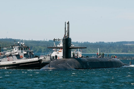 BANGOR, Wash. (May 6, 2016) - The Ohio-class ballistic-missile submarine USS Pennsylvania (SSBN 735) returns to Naval Base Kitsap-Bangor following a routine strategic deterrent patrol. Pennsylvania is one of eight ballistic-missile submarines stationed at the base providing the most survivable leg of the strategic deterrence triad for the United States. (U.S. Navy photo by Lt. Cmdr. Michael Smith/Released)