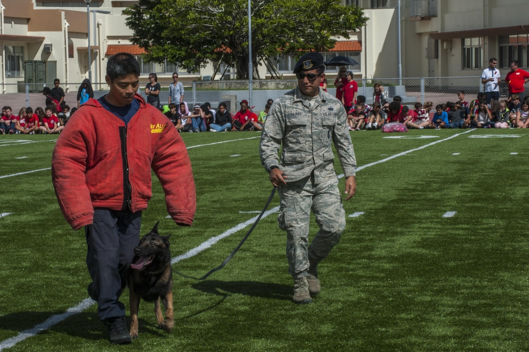 U.S. Air Force Senior Airman Juan Salinas, 18 Security Forces Squadron military working dog handler with military working dog Ayila, demonstrate escorting with Shitetsu Hirata, 18 SFS assistant trainer at Ryukyu Middle School at Kadena Air Base, Japan, for Red Ribbon Week Oct. 21, 2016. Red ribbon week first began after the murder of a Drug Enforcement Administration agent, Enrique Camarena, to raise awareness about the destruction and death caused in the wake of rampant drug abuse. (U.S. Air Force photo by Airman 1st Class Nick Emerick/Realeased)
