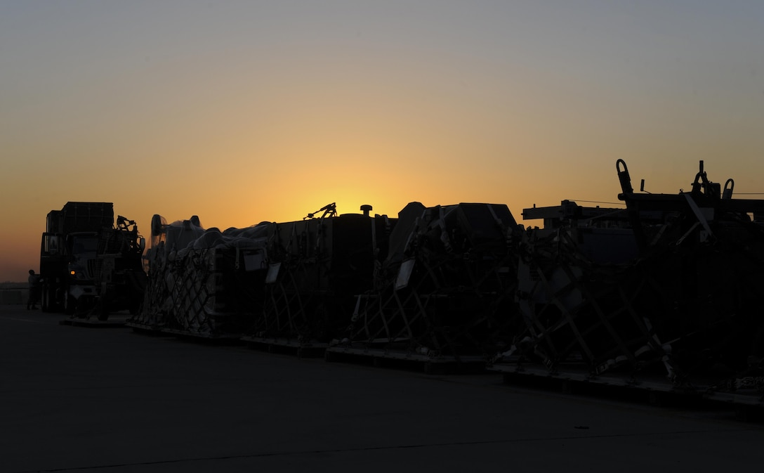 Equipment is loaded onto a semi-truck Oct. 19, 2016, at Incirlik Air Base, Turkey. The cargo was delivered from the 175th Wing, Maryland Air National Guard in support of Operation INHERENT RESOLVE. (U.S. Air Force photo by Airman 1st Class Devin M. Rumbaugh)