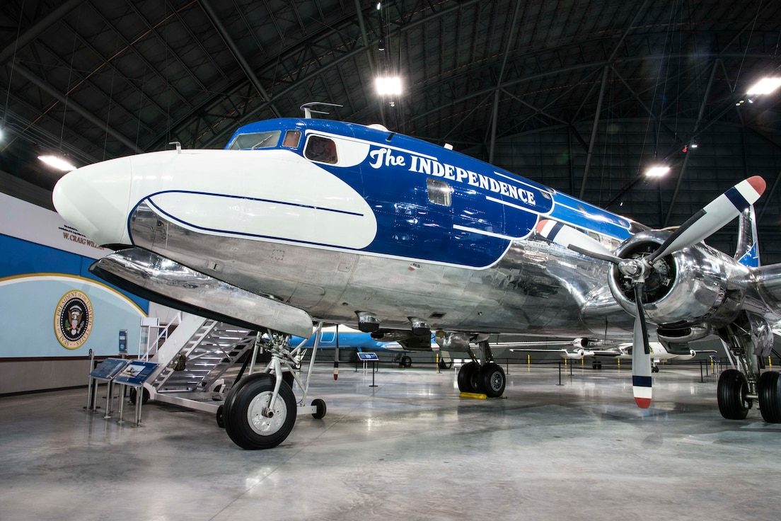 "Picture of the Douglas VC-118 ""Independence"" on display in the Presidential Gallery at the National Museum of the United States Air Force."