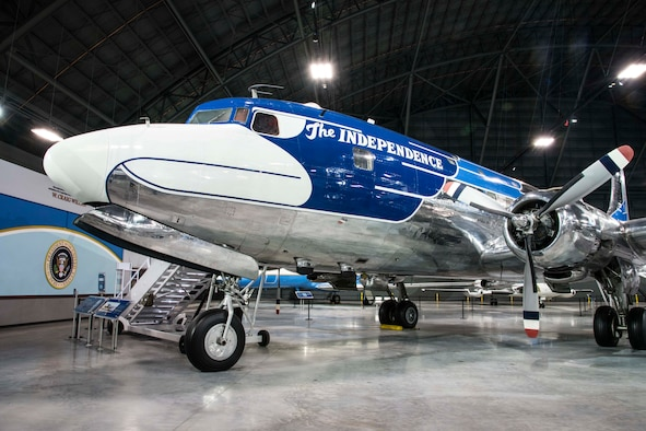 "DAYTON, Ohio -- The Douglas VC-118 ""Independence"" on display in the Presidential Gallery at the National Museum of the United States Air Force. (U.S. Air Force photo by Ken LaRock)"