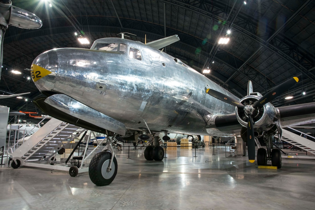 "Picture of the Douglas VC-54C ""Sacred Cow"" on display in the Presidential Gallery at the National Museum of the United States Air Force."