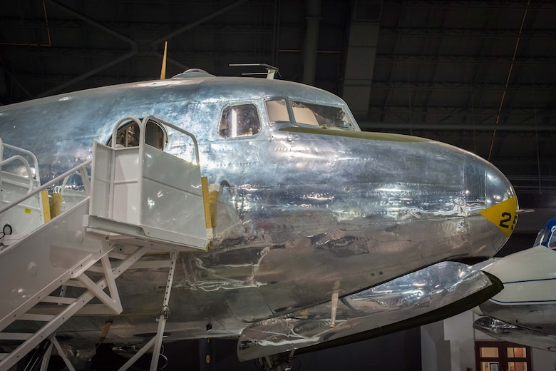 "DAYTON, Ohio -- The Douglas VC-54C ""Sacred Cow"" on display in the Presidential Gallery at the National Museum of the United States Air Force. (U.S. Air Force photo by Ken LaRock)"