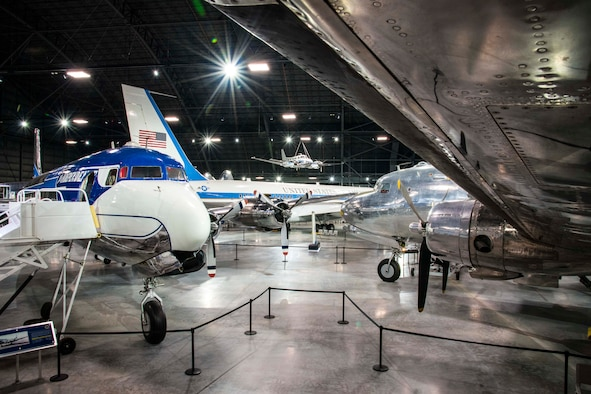"DAYTON, Ohio -- The Douglas VC-118 ""Independence"" and the Douglas VC-54C ""Sacred Cow""  on display in the Presidential Gallery at the National Museum of the United States Air Force. (U.S. Air Force photo by Ken LaRock)"