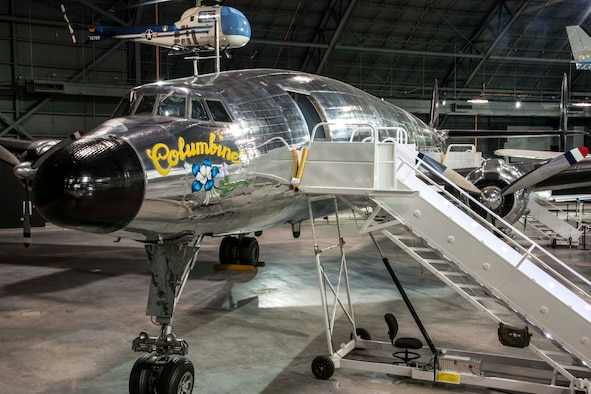 """DAYTON, Ohio -- The Lockheed VC-121E """"Columbine III"""" on display in the Presidential Gallery at the National Museum of the United States Air Force. (U.S. Air Force photo by Ken LaRock)"""